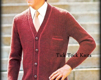 No.421 PDF Vintage Knitting Pattern Teen Boy's & Men's Button Tab Cardigan Sweater - 1960's Retro Knitting Pattern - Instant Download