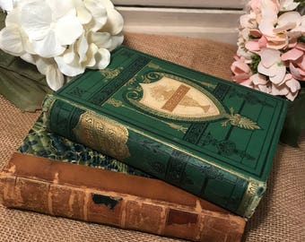 Antique Books, vintage wedding, 1800s, Collectible Books, Green Books, Decorative Books, Brown, Leather Books, Antique Books, gold