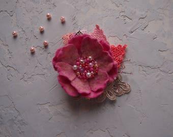 valentine's gift Felt flower brooch-Felt brooch-Flower brooch-Felt flower pin-pink-ready to ship