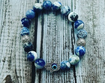 Sodalite Hamsa Bracelet ~Hand of Fatima bracelet