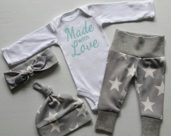 Neutral Bring Home Outfit. Made with Love. Stars. Arrow. Leggings Top Knot Hat & Headband. Gender Neutral Take Home Baby Outfit. Coming Home