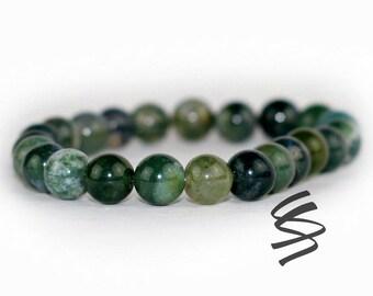 8mm Seraphinite Bracelet, Moss Agate, Seraphinite Beads, Green Stretch Bracelet, Green Bracelet, Yoga Bracelet, Meditation Bracelet
