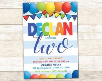 Balloon Party Invitation - Balloon Birthday Party - Balloon Birthday invitation - Rainbow Balloon Invitation - Balloon Invite - Any Age