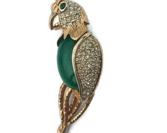 Parrot Brooch Parrot Jewelry Faux Jade Crystal Pins Gifts For Her Green Jade Jewelry Scarf Pin Coat Pin Resort Jewelry