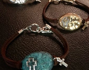 Patina Oval John 3:16 Leather Bracelet