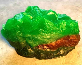 Emerald Green Geode Crystal Gemstone Rock Soap - FREE U.S. SHIPPING - Rock Collector Gift - Mineral - Green Tea and Cucumber Scented