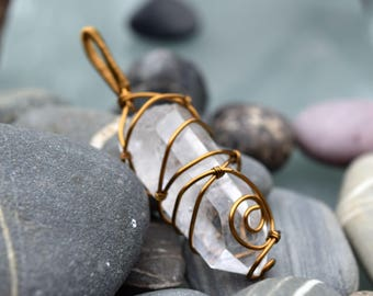 Quartz Point Bronze Pendant