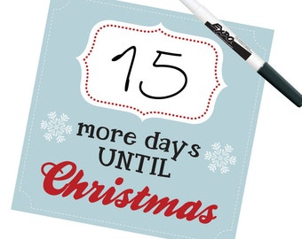 CHRISTMAS COUNTDOWN - more days until Christmas in Blue - Dry Erase Wall Decals by Graphics Mesh
