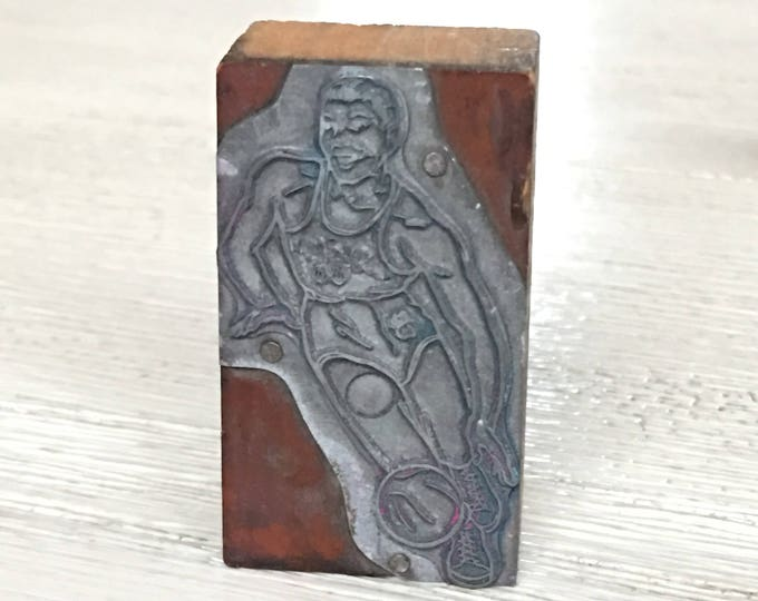 Vintage Phillips 66ers Newspaper Letterpress Printing Oilers Basketball Player Type Block