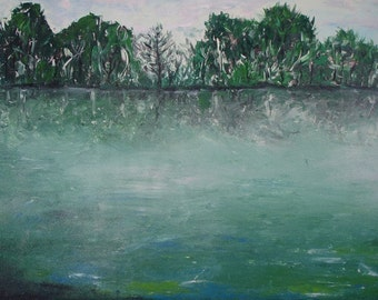 "GREEN LAKE - Original Acrylic Landscape Art, size: 22,5"" X 38,3"" (58 X 98 cm)"