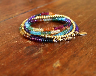 Multi Gemstone Wrap Bracelet Rainbow and Gold Chakra Bracelet Yoga Inspired Spiritual Gypsy Bohemian