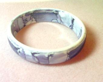 Vintage Ceramic Bangle Bracelet - Abstract Purple