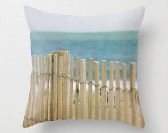 Beach photo pillow, blue, teal yellow cushion cover, sand fence decoratove pillow, ocean pillow, coastal decor throw pillow, beach decor