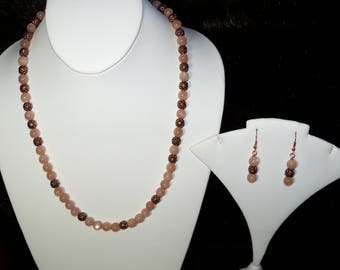 A Lovely Moonstone and Sunstone Necklace and Earrings. (2017153)