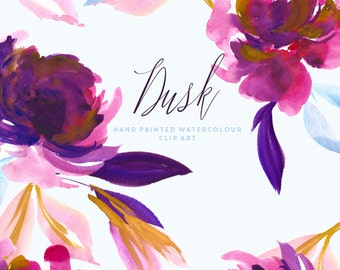 Watercolour Flower Clipart - Dusk