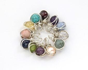 Birthstone Pendant, Your Choice of Gemstone, Wire wrapped with Sterling Silver