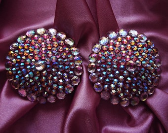 Crown Jewel burlesque pasties Pink nipple covers AB rhinestone pasties AB rhinestone tassels Erotic lingerie Custom made lingerie