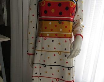 1960's Full Figure Colorful High Neck Orange/Gold/Black/Beige Poly Knit Long Sleeve A-line Style DRESS by 'L'Aiglon Original
