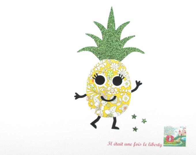 Patch à repasser ananas Appliqués thermocollants liberty ananas en June's Meadow & flex pailleté vert pineapple