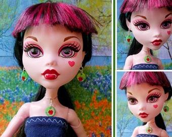 Doll Lip Tattoo Necklace Earrings, Green Shell Tattoo Jewelry