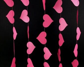 Dark Pink Heart Garland - Valentine's Day Garland, Pink Paper Garland with Heart Shapes, Girls Birthday or Engagement Garland - GH042-46