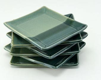 Ceramic plates, pottery plates, snack plates, appetizer plates, tapas plates, teal pottery