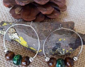 Silver Tone Hoop Earrings with Wood and Green Beads
