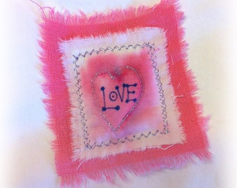 Love Magnet! Mini Art-Quilt for your Refrigerator LM3