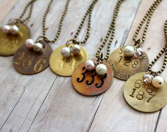 Miner Tag Necklace, Tool Tag Necklace, Number Necklace, Rustic Wedding, Coal Miner, Brass Number,Number Jewelry,Upcycled Recycled Repurposed
