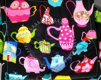 TEA POTS on Black Microwave Bowl Cozy **2 Sizes Available**