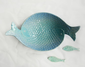 Fish bowl, fish plate, fish, dinner plate, ceramic plate, ceramic fish, turquoise plate, green plate, bowl