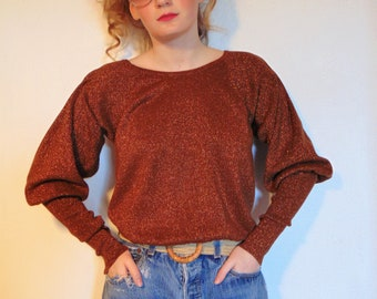 Vintage 60s 70s 80s Sparkle rust metallic long puffy sleeves cropped sweater top shirt pullover mod boho hipster copper bronze gold