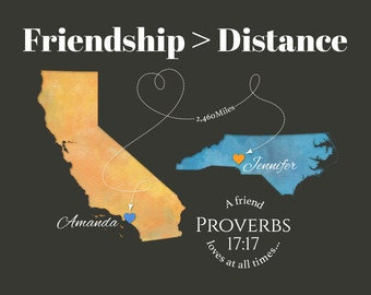 Personalized Gift for Best Friend, Moving Away Gift for Friend, Friendship Quote Print, Birthday Gift Idea, Proverbs 17:17, Any 2 places