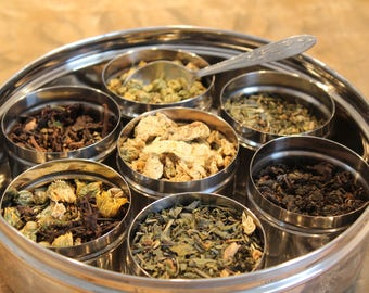 Metal Canister  with herbal  Teas included