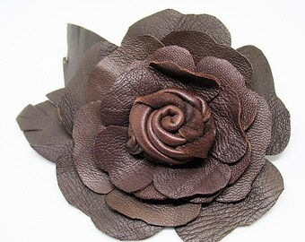 Brown leather flower corsage, brown rose boutonniere, brown brooch, leather flower pin, Rustic wedding, Groom pin, Best man corsage, Ruby62