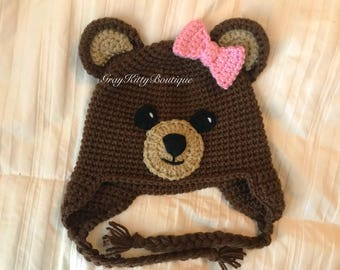 Crochet Teddy Bear Hat, Crochet Bear Hat - All Sizes