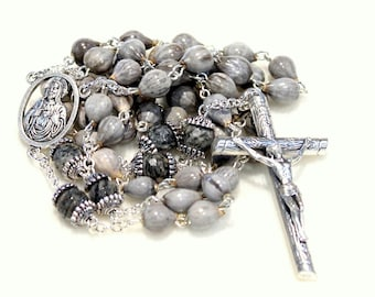 Men's Rosary- Home Grown Job's Tears Rosary-  Natural Spiderweb Jasper Pater Beads