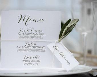50 Printed Wedding Reception Dinner Menu, Wedding Dinner Menus, Simple Elegant Dinner Menus for your Special Event