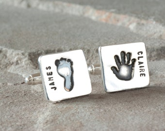 Personalized Handprint Keepsake Cufflinks, Gifts For New Dads, Handprint Jewelry, Fathers Day Cufflinks, Personalized Baby Keepsake