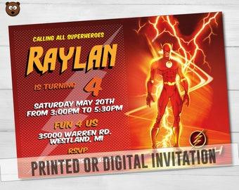 Flash Printed Invitation, Flash Invitation, Flash Party, Flash Birthday, Flash Flash, Flash Digital, Heroes,League of legends  HBS 028 Flash