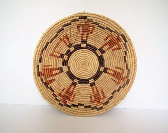 Mid century African wall basket/global decor/boho wall display/large bowl
