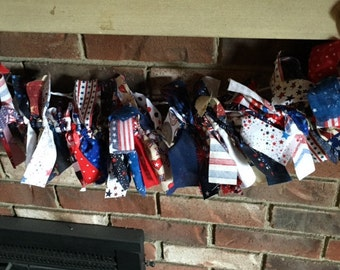 Fourth of July/Patriotic Lighted Fabric Garland-Back in Stock