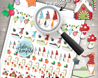 60%OFF - Christmas Stickers, Printable Planner Sticker, Kawaii Stickers, Planning Stickers, Elf Stickers, Gnome Sticker Kit, Dwarf Stickers