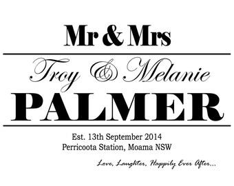 Wedding Print, Personalised, Wedding Sign, Custom Wedding Print, Bridal Shower Gift, Paper Anniversary Gift, Wedding Gift, Printable PDF
