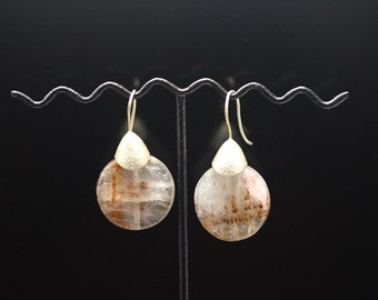 1pair(je-0467) - sterling silver earrings with natural rutilated quartz