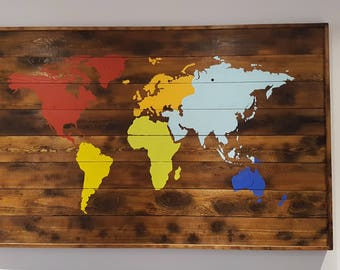 Rustic wood world map, World map, World map wall hanging, World map Handmade, World map wall Decor, World map art, wood art Wallhanging