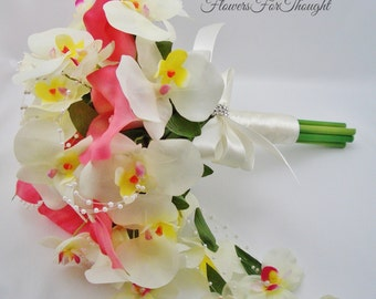 Real Touch Calla and Orchid Bridal Bouquet, Cascading or Waterfall Style Flowers, Wedding Day Decoration