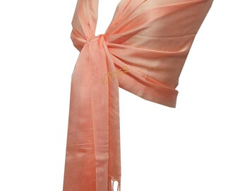 New 100% Silk Shawl Bridal Scarf Bridal Shawl Bridesmaid Gift/Scarf  Wedding Gift Scarf/Shawl For Day To Evening Occasions (Light Peach)