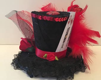 Mad Hatter Alice wonderland Queen of Hearts Mini 2 Top Hat Fancy Dress Halloween