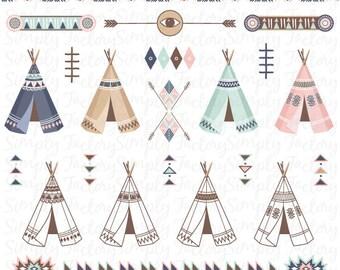 Tribal pack «TRIBAL tipi» clipart, tipis, tentes, plumes, flèches, aztèque, frontières, clipart indien, Navaho, natif, de mariage. Tribal005
